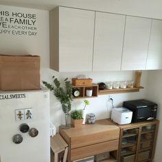 Kitchen,無印良品,ナチュラル,IKEA,ウォールステッカー,キッチン,ニトリ,フェイクグリーン,壁に付けられる家具,シンプルライフ,コンテスト参加,アメブロやってます♪,すっきり暮らしたい,こどもと暮らす,新築一戸建てのインテリア実例 | RoomClip (ルームクリップ)
