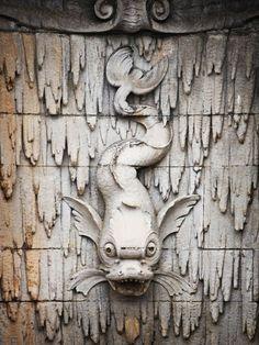 Stone dragon-fish fountainhead in the Pergola Nc Waterfalls, Dragon Fish, Brick Art, Biltmore Estate, Sea Monsters, Haunted Mansion, Large Homes, Blue Ridge, Magic Kingdom