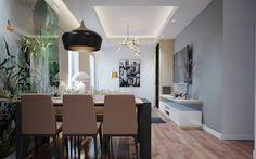 Xu hướng thiết kế trong phòng ăn được thiết kế liên thông vào phòng khách là một trong những xu hướng thiết kế hàng đầu cho các căn hộ chung cư ngày nay. Tuy vậy mà để bày trí một không gian trong phòng ăn vừa nhỏ và vừa