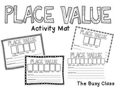 "Place Value Activity Mat - perfect for all ages and every day use in the classroom. Mats included from 2 digits to 9 digits. Give students a number and have them fill in the standard form, word form, and expanded form of the number. Then ask questions like, ""What is 100 more? What is 1,000 less?"""