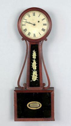 Massachusetts mahogany banjo timepiece, ca. 1830