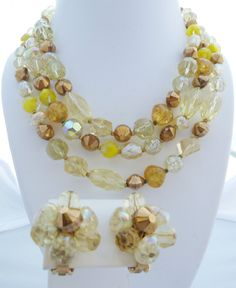 Hattie Carnegie 3 Strand Necklace and Ear Clips Mixed Crystals Yellow Topaz Givre TRUE VINTAGE