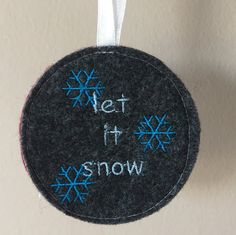 Set of 5 Let it Snow tree ornaments Christmas by SewFreshAgain