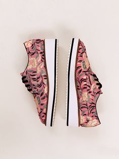 Delfina Platform Loafer   Cool and modern printed platform loafers with an easy lace-up design. * Ripple sole