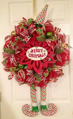 Holiday Elf decomesh wreath on Etsy, $75.00