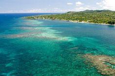 Aerial view of tropical Caribbean island of Roatan, Honduras
