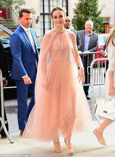 Breathtaking: Brie Larson sparkled like Glinda the Good Witch in a celestial chiffon Monique Lhuillier SS/18 gown at the Manhattan premiere of The Glass Castle on Wednesday