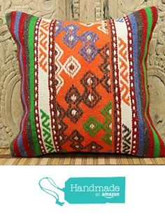 Turkish kilim pillow cover 16x16 Natural Kilim Pillow cover from Kilimwarehouse http://www.amazon.com/dp/B0198CFB3Q/ref=hnd_sw_r_pi_dp_irsCwb0P6NC3M #handmadeatamazon