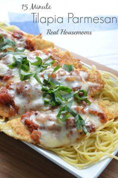 15 minute Tilapia Parmesan | Real Housemoms | #tilapia #dinner