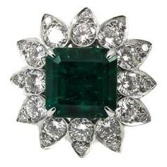 4.31 Carat Fine Colombian Emerald Diamond Platinum Ring