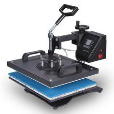 Happybuy 5 in 1 Heat Press Machine 12 X 15 Inch 360 Degree Swing-away Heat Press Multifunction Sublimation T Shirt Press Machine Transfer Printer for Plate Mug Cup Hat (5 in 1 Swing-away)