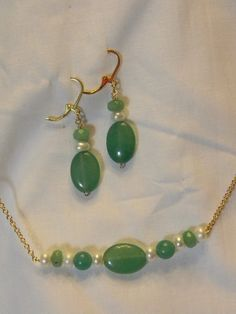 Emerald and Akoya Pearl Necklace and Earrings by JewelzbyJulzNw, $59.95