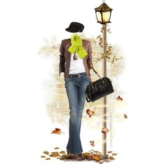 Fall Outfit - Leather Jacket & Bootcut Jeans, created by celinecucci on Polyvore