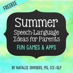 Great one page handout on games and apps to build speech and language skills for parents!  FREE