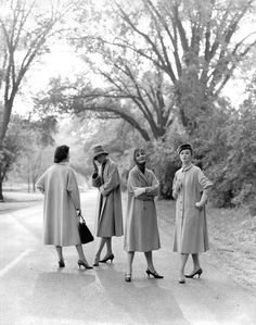 """Four Coats in the Park"" fashion photo by Kenneth Heilbron 