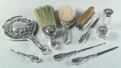 Sterling Silver Dresser Set by Mauser Hearts & Flowers - Cupid