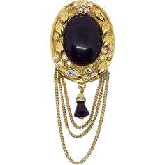 61c72a74b Kenneth Lane Faux onyx Brooch Pin Chains AB rhinestones KJL Black. Vintage  Items ...