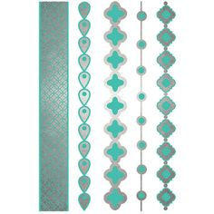 SILVER METALLIC Turquoise Spanish Bracelets Temporary Jewelry Tattoos... ❤ liked on Polyvore