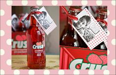 Cute Valentines Day Card with photo of your child--Love the strawberry Crush drink for a Valentines Day Party