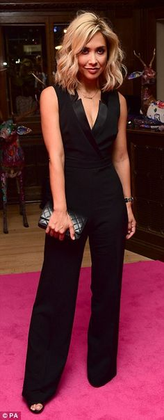 Babe in blue: The One Show hosts past and present Alex Jones (left) and Myleene Klass attended the after-party