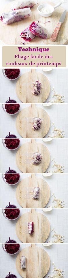 Rouleaux de printemps au chou rouge + tutoriel pliage
