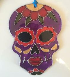 Sugar skull stained glass effect hanging decorative suncatcher by Shopoflittlehorrors1 on Etsy