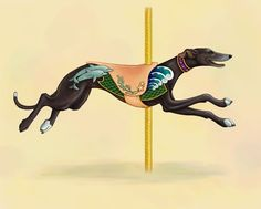 "Carousel Black Greyhound By Kim Parkhurst. (<a href=""http://www.etsy.com/listing/59825522/carousel-black-greyhound-series-signed"">Etsy listing here</a>.)"