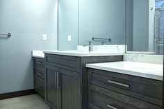 of British Columbians are planning a bathroom renovation. Start your project off on the right foot by viewing our bathroom inspiration gallery Gray And White Bathroom, White Vanity Bathroom, Bathroom Vanities, Bathroom Styling, Bathroom Storage, Popular Color Schemes, Vanity Countertop, Custom Vanity, Bathroom Goals