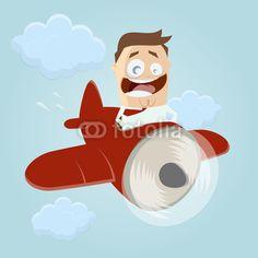 Cartoon man flying around