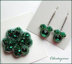 """Купить Комплект """"На удачу"""" - зеленый, тёмно-зелёный, серебряный, клевер, четырехлистный клевер"""