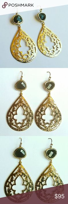 GORGEOUS GOLD MOROCCAN CHANDILIER EARRINGS Gorgeous gold Moroccan chic chandelier earrings. Handmade with gold Moroccan pendant and faceted olive crystal. Very lightweight and perfect for day to evening glam. 2.5 inches Mia Elliott  Jewelry Earrings