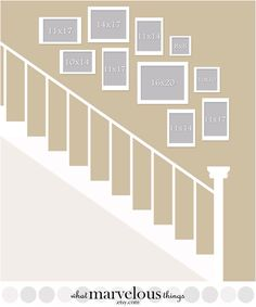 Picture Wall Layout for Stair& gallery wall ideas gallery wall layout Staircase Pictures, Gallery Wall Staircase, Staircase Wall Decor, Stairway Decorating, Stair Gallery, Staircase Makeover, Stair Decor, Staircase Frames, Entryway Stairs