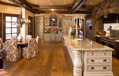 Kitchen, breakfast room, floors, beams....wow, this is a GREAT warm, inviting space!