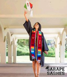 Sarape Sashes is the leading online store for ethnic graduation sashes & stoles. All our Hispanic & Latino sashes and stoles are hand-made. Get yours today! Graduation Picture Poses, College Graduation Pictures, Graduation Photoshoot, High School Graduation, Grad Pics, Grad Pictures, Graduation Stole, Graduation Leis, Graduation Cap Designs