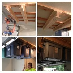 Our garage storage project we surprised Mom with. Makes it super easy to hang storage bins out of the way.  We built the 'I' bars out of wood and then attached them to cross beams that we screwed into the studs in the garage ceiling. Not too difficult, and very sturdy and useful! Top boards: 1x6x48 Vertical boards: 2x3x48 Bottom boards in the middle: 1x4x48 Bottom boards for the outside I bars: 1x3x48 Cross beams for stud support: 2x4x60