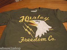Mens Hurley T shirt regular fit M surf skate TEE freedom chicken green MTSSFRCH