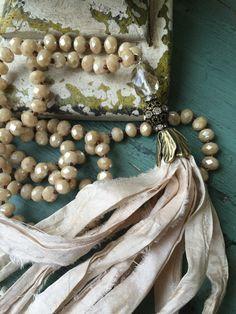 Romantic shabby boho neutral crystal sari silk tassel jewelry unique style versatile accessory by MarleeLovesRoxy