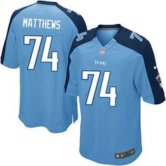 Nike Limited Bruce Matthews Light Blue Youth Jersey - Tennessee Titans #74 NFL Home