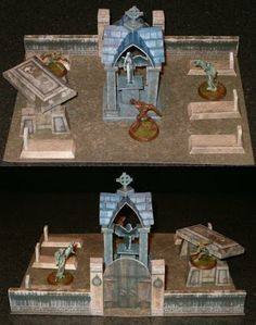 "Tektonten Papercraft: Halloween   tabletop graveyard decoration from several free paper models available on the internet. The miniature ghost, zombie and werewolf figures in the graveyard are from a customizable game called Heroscape. The scale of the graveyard is roughly 1:58 (28mm) with the finished scene being about 8"" (20cm) by 10"" (25cm) and 5 1/2"" (13cm) tall"