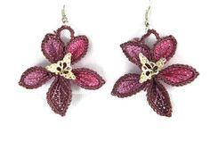 Pink Crochet Flower Earrings Crochet Dangle Earrings por Nakkashe
