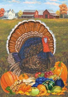 Turkey Farmhouse - Garden Size 12 Inch X 18 Inch Decorative Flag by Custom Decor. $5.99. Fits standard garden flag stand. Made of permanently dyed polyester. Garden Flag size is 12 in wide x 18 in long. Thanksgiving Turkey Fall Harvest Garden Flag Banner