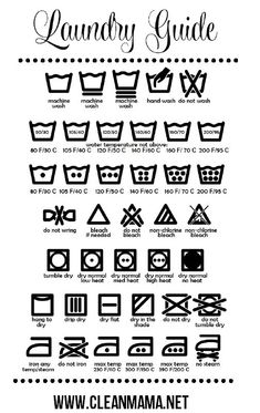 Wondering what all those symbols mean on your clothes? Print out this freebie and keep it in your laundry room to know how to launder everything! Free Printable Laundry Guide via Clean Mama Deep Cleaning Tips, House Cleaning Tips, Spring Cleaning, Cleaning Hacks, Laundry Schedule, Clean Mama, Homemade Toilet Cleaner, Clean Baking Pans, Grout Cleaner