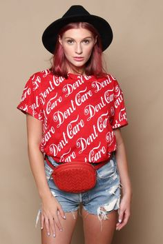 Tell 'em how you REALLY feel in this awesome tee shirt from Motel! Looks rad worn loose or tucked in! Cute Winter Outfits, Fall Outfits, Cool Tee Shirts, Cozy Sweaters, Motel, Chic Outfits, Ankle Booties, Don't Care, What To Wear