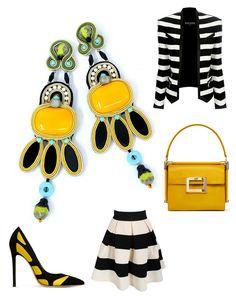 Caprice. #doricsengeri #caprice #yellow #earrings #black #Stripes #Accessories #b&w #longearrings #modabord