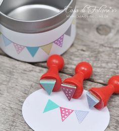 Mini Stempel Set Wimpel mini stamp - would also be a great DIY Craft. Diy Stamps, Homemade Stamps, Stencil, Diy For Kids, Crafts For Kids, Make Your Own Stamp, Diy Cadeau Noel, Diy And Crafts, Paper Crafts