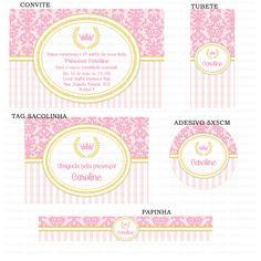Kit Digital Princesa - Arabescos e listras - Coroa de princesa - Rosa envelhecido - nude - Charme Papeteria