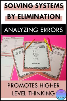 Solving Linear Systems of Equations using Elimination Error Analysis Math Resources, Math Activities, Linear System, Systems Of Equations, Secondary Math, Task Cards, Critical Thinking, Math Lessons, Algebra 1