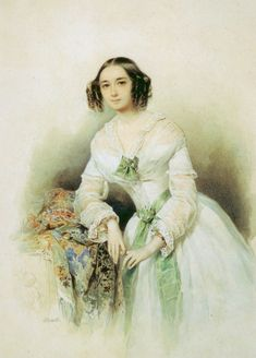 Pyotr Sokolov (1791-1848). Portrait of Princess Olga Galitzine, born Scherbatova (1829-1879)
