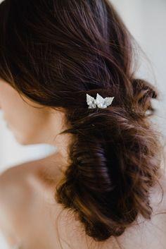 Silver Leaf Bridal Hair Pin   Silver Wedding Hair Comb   Silver Leaf Pin   Silver Leaf Headpiece   Leaf Hair Pin   Silver Lucy Hair Pin by GlamHerBands on Etsy https://www.etsy.com/ca/listing/486026316/silver-leaf-bridal-hair-pin-silver