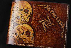 Handmade custom Thrash Metal Metallica carved leather short wallet for men/fans